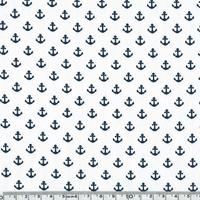 Popeline mini ancres marines fond blanc 20 x 140 cm