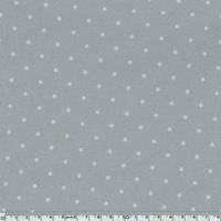 Jersey mini étoiles blanches fond gris 20 x 140 cm