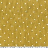 Tissu double gaze de coton à étoiles coloris moutarde  20 x 135 cm
