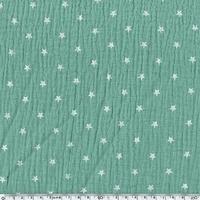 Tissu double gaze de coton à étoiles coloris vert 20 x 135 cm