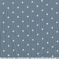 Tissu double gaze de coton à étoiles coloris gris 20 x 135 cm