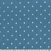 Tissu double gaze de coton à étoiles coloris ardoise 20 x 135 cm