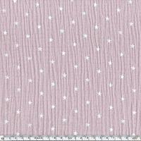 Tissu double gaze de coton à étoiles coloris lilas 20 x 135 cm