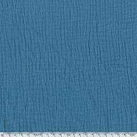 Tissu double gaze de coton coloris bleu ardoise 20 x 135 cm