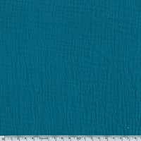 Tissu double gaze de coton coloris bleu paon 20 x 135 cm
