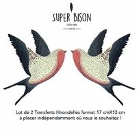 Transfert textile Hirondelles (x2)