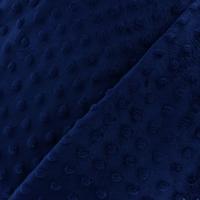 Jersey velours 'minkee' marine 20x140 cm
