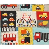 Tissu patchwork voitures et vélos coloris rétro 40 X 110 cm