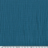 Tissu double gaze de coton coloris bleu bondi 20 x 140 cm