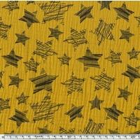 Tissu double gaze de coton à grosses étoiles coloris moutarde 20 x 140 cm