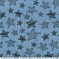 Tissu double gaze de coton à grosses étoiles coloris bleu clair  20 x 140 cm