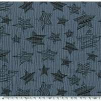 Tissu double gaze de coton à grosses étoiles coloris acier 20 x 140 cm