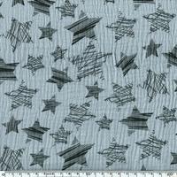 Tissu double gaze de coton à grosses étoiles coloris gris bleu 20 x 140 cm