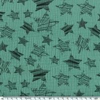 Tissu double gaze de coton à grosses étoiles coloris vert 20 x 140 cm