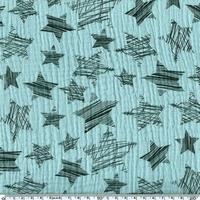 Tissu double gaze de coton à grosses étoiles coloris mint 20 x 140 cm