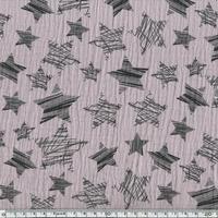 Tissu double gaze de coton à grosses étoiles coloris lilas 20 x 140 cm