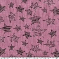 Tissu double gaze de coton à grosses étoiles coloris guimauve 20 x 140 cm