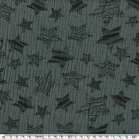 Tissu double gaze de coton à grosses étoiles coloris gris 20 x 140 cm