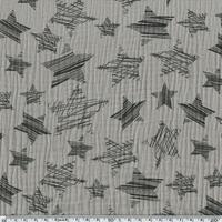 Tissu double gaze de coton à grosses étoiles coloris gris taupe 20 x 140 cm