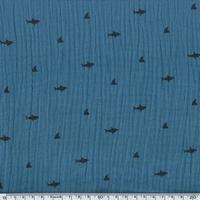 Tissu double gaze de coton requins coloris ardoise 20 x 140 cm