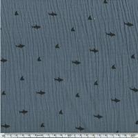 Tissu double gaze de coton requins coloris gris 20 x 140 cm