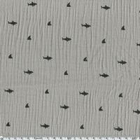 Tissu double gaze de coton requins coloris gris taupe 20 x 140 cm