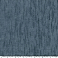 Tissu double gaze de coton unie coloris acier 20 x 135 cm