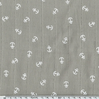 Tissu lange ancres blanches coloris taupe 20 x 140 cm