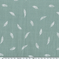 Tissu lange plumes blanches coloris eucalyptus 20 x 140 cm
