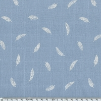 Tissu lange plumes blanches coloris bleu 20 x 140 cm