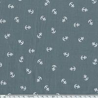 Tissu lange ancres blanches coloris aluminium 20 x 140 cm