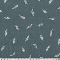 Tissu lange plumes blanches coloris aluminium 20 x 140 cm