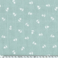 Tissu lange ancres blanches coloris Guingamp 20 x 140 cm