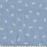 Tissu lange ancres blanches coloris bleu 20 x 140 cm