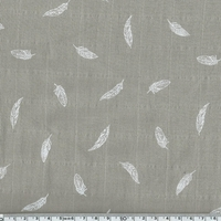 Tissu lange plumes blanches coloris taupe 20 x 140 cm