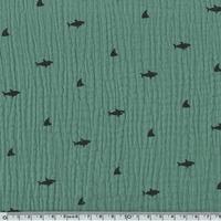 Tissu double gaze de coton requins coloris vert 20 x 140 cm