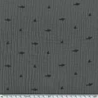 Tissu double gaze de coton requins coloris taupe 20 x 140 cm