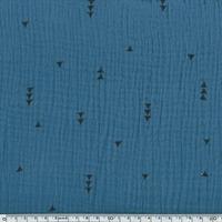 Tissu double gaze de coton triangles coloris ardoise 20 x 140 cm