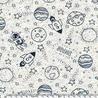 Jersey Planètes fond beige chiné 20 x 10 cm