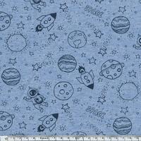 Jersey Planètes fond bleu chiné 20 x 10 cm