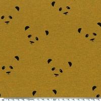 Tissu Molleton Pandas envers minky fond moutarde chiné 20 x 140 cm