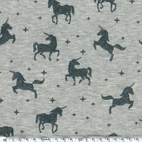 Jersey licornes à paillettes fond gris chné 20 x 140 cm