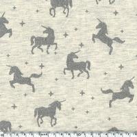 Jersey licornes à paillettes fond beige chné 20 x 140 cm