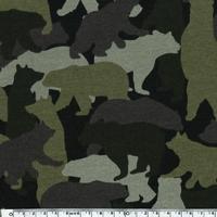 DERNIER COUPON Molleton Camouflage envers minky coloris kaki 30 x 140 cm