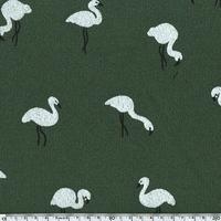 Jersey Crêpe Flamingo fond kaki 20 x 140 cm