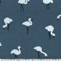 Jersey Crêpe Flamingo fond ardoise 20 x 140 cm