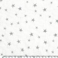 Lin lavé Constellation encre argent coloris blanc 20 x 140 cm