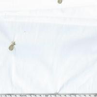 Coupon de Popeline Ananas dorés brodés fond blanc 1m50 x 140 cm