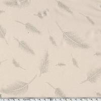Tissu fluide Plumes argentées fond rose poudré 20 x 140 cm