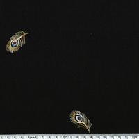 Viscose plumes de paon brodées fond noir 20 x 135 cm